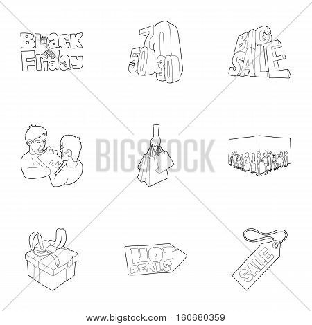 Hot price icons set. Outline illustration of 9 hot price vector icons for web