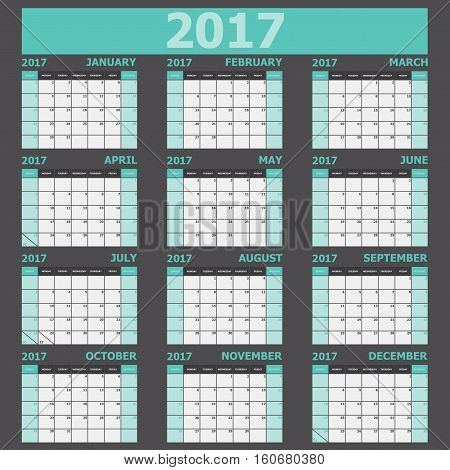 Calendar 2017 week starts on Sunday (green tone), stock vector