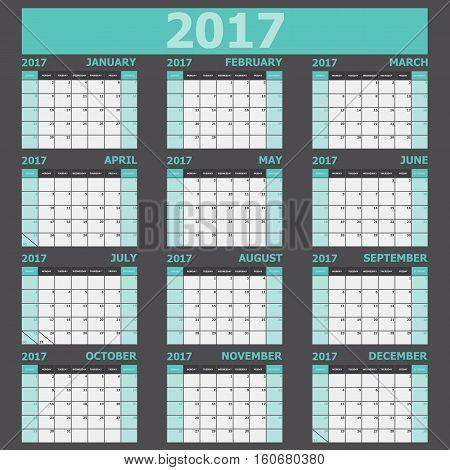 Calendar 2017 week starts on Sunday (green tone), stock vector