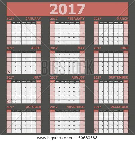 Calendar 2017 week starts on Sunday (red tone), stock vector