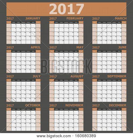 Calendar 2017 week starts on Sunday (brown tone), stock vector