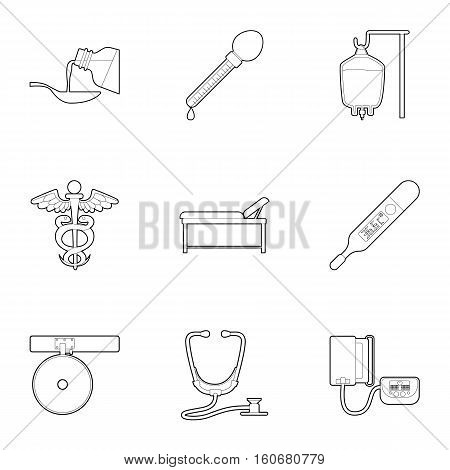 Purpose of treatment and diagnosis icons set. Outline illustration of 9 purpose of treatment and diagnosis vector icons for web