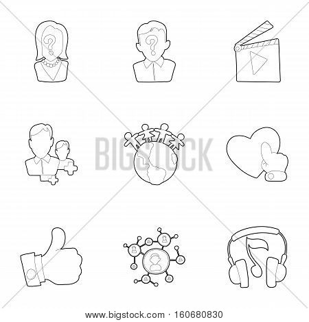 Communication icons set. Outline illustration of 9 communication vector icons for web