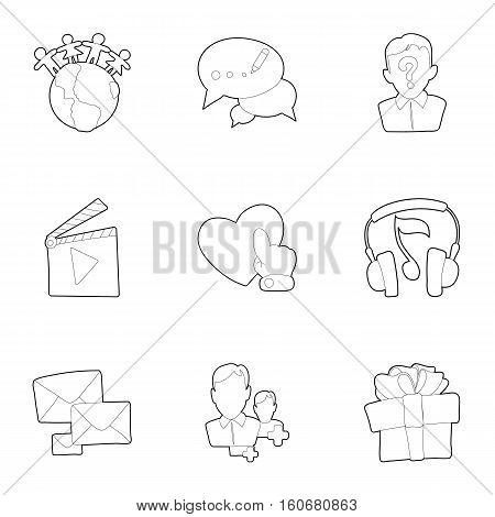 E-mail icons set. Outline illustration of 9 e-mail vector icons for web