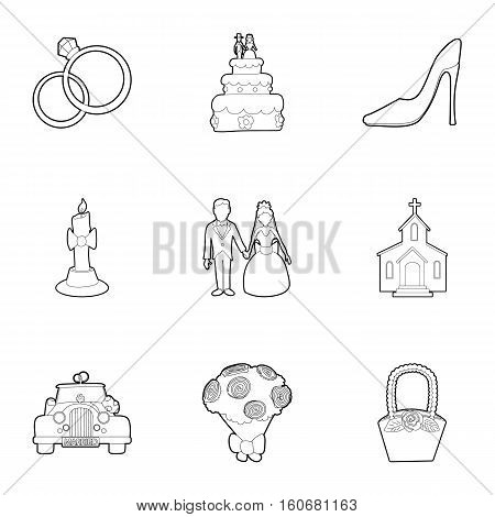 Wedding ceremony icons set. Outline illustration of 9 wedding ceremony vector icons for web