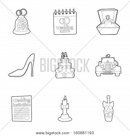 Marriage ceremony icons set. Outline illustration of 9 marriage ceremony vector icons for web