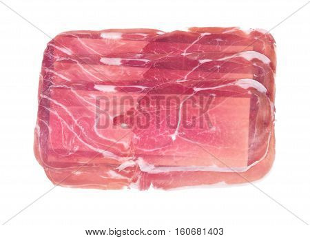 Boneless sliced italian dry-cured ham prosciutto isolated on white background