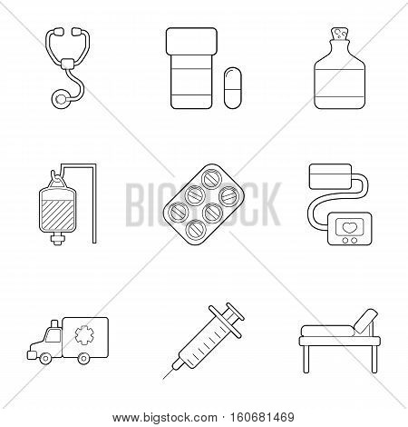Ambulance service icons set. Outline illustration of 9 ambulance service vector icons for web