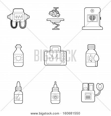 Clinic icons set. Outline illustration of 9 clinic vector icons for web