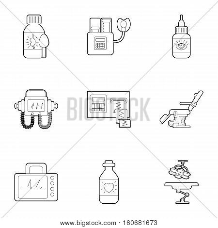 Diagnostic equipment icons set. Outline illustration of 9 diagnostic equipment vector icons for web