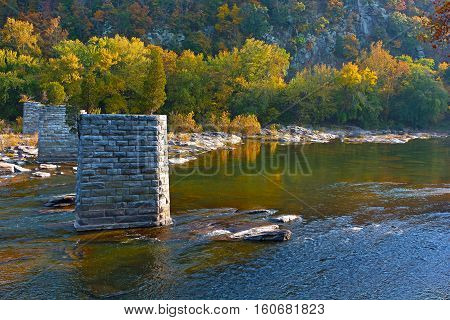 River along Appalachian train near Harpers Ferry in autumn West Virginia. A point where Potomac and Shenandoah rivers meet each other.