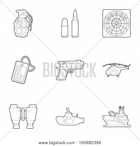 Weapons icons set. Outline illustration of 9 weapons vector icons for web
