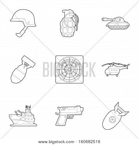 War equipment icons set. Outline illustration of 9 war equipment vector icons for web