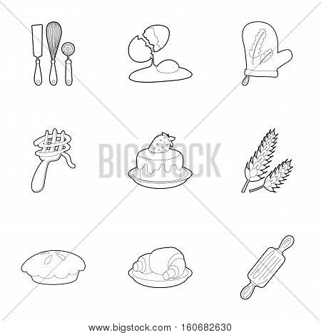 Cakes icons set. Outline illustration of 9 cakes vector icons for web