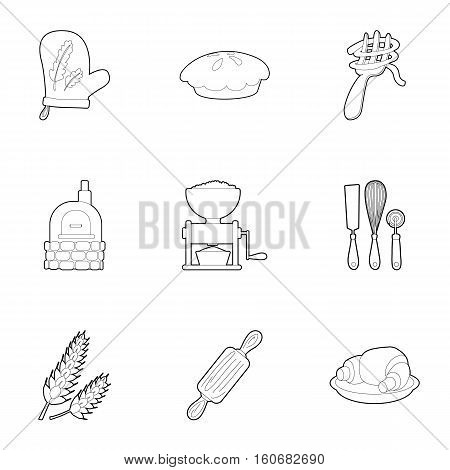 Sweet pastries icons set. Outline illustration of 9 sweet pastries vector icons for web