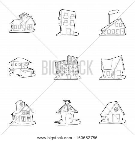 Dwelling icons set. Outline illustration of 9 dwelling vector icons for web