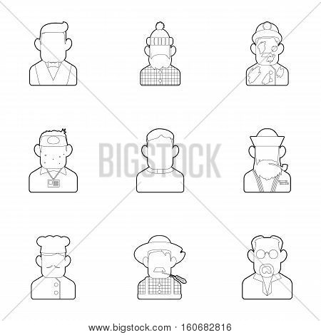 Profession icons set. Outline illustration of 9 profession vector icons for web