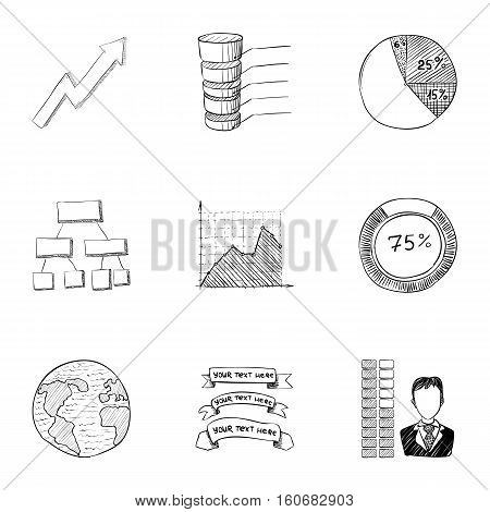 Marketing icons set. Hand drawn illustration of 9 marketing vector icons for web