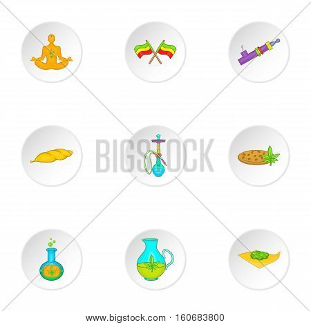 Hemp icons set. Cartoon illustration of 9 hemp vector icons for web