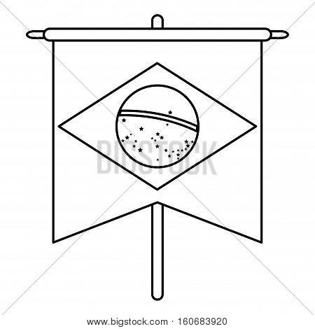 brasilian flag hanging symbol outline vector illustration eps 10