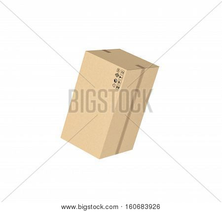 3d rendering of a closed light beige cardboard mail box taped with duct tape, isolated on the white background. Packing and crating. Storage of different products. Compartments for packages.