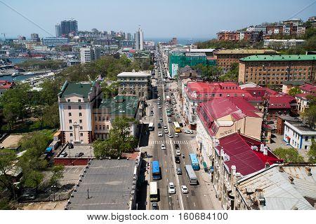 Vladivostok, primorsky, svetlanskaya,str, top view. June 01, 2013
