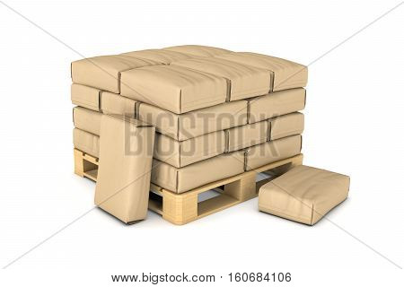 3d rendering of large paper bags rest on a pallet isolated on the white background. Building industry. Building materials. Transportation of materials.