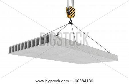 3d rendering of concrete slab hanging on a hook with four ropes isolated on the white background. Building industry. Building materials. Materials transportation.