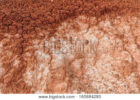 Abstract background with texture of brown and white colors of dry ground with cracks and stones on the mountain slopes