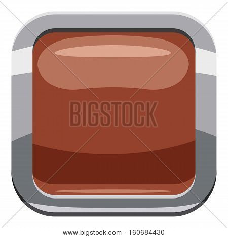 Broun square button icon. Cartoon illustration of square button vector icon for web design