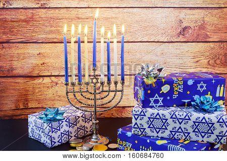 Jewish Holiday Hanukkah Celebration Tallit Vintage Menorah