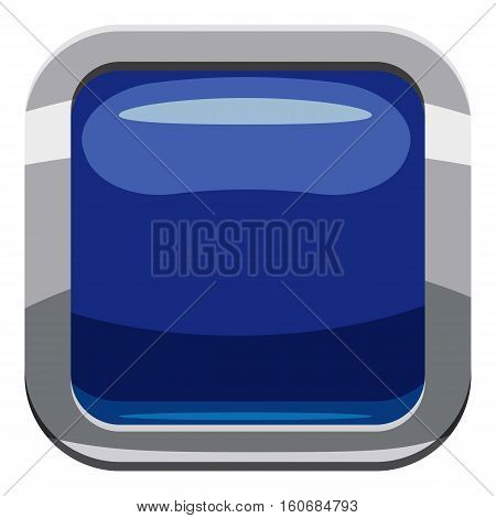 Blue square button icon. Cartoon illustration of square button vector icon for web design