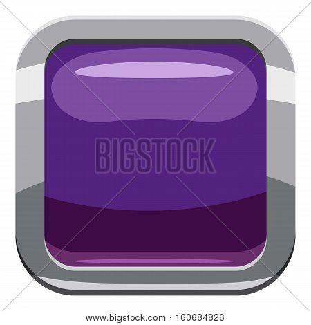 Violet square button icon. Cartoon illustration of square button vector icon for web design