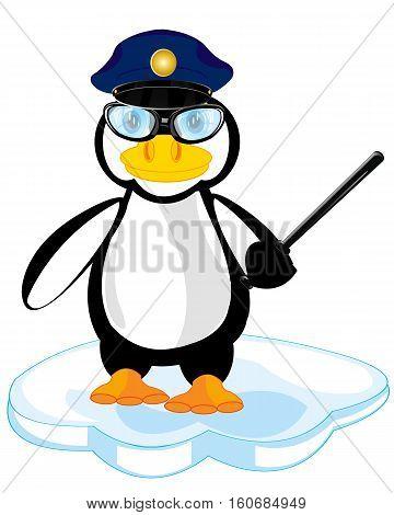 Nursery cartoon birds of the penguin police on white background