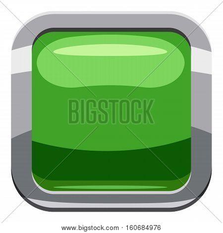 Light green square button icon. Cartoon illustration of square button vector icon for web design