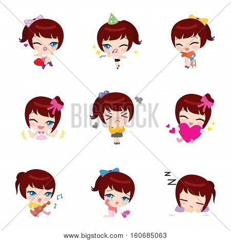Mina cartoon style emoji vector iicons collection