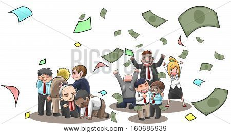 Cartoon illustration of successful and fail businesspeople broker and investor in stock market with money flying with wealth and lost from investment. Financial stock business success and fail diversity concept in isolated background create by vector