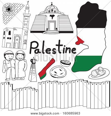 Travel to Palestine doodle drawing icon. Doodle with culture costume landmark and cuisine of Palestine with friendly Israel tourism concept in isolated background create by vector