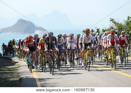 RIO DE JANEIRO, BRAZIL - AUGUST 6, 2016: Cyclists ride during Rio 2016 Olympic Cycling Road competition of the Rio 2016 Olympic Games in Rio de Janeiro
