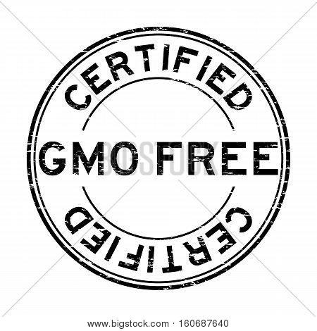 Grunge black GMO free certified round rubber stamp