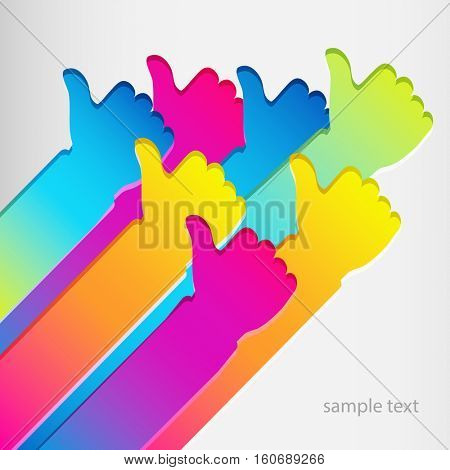 Vector illustration, sign like finger up. Abstract design background.