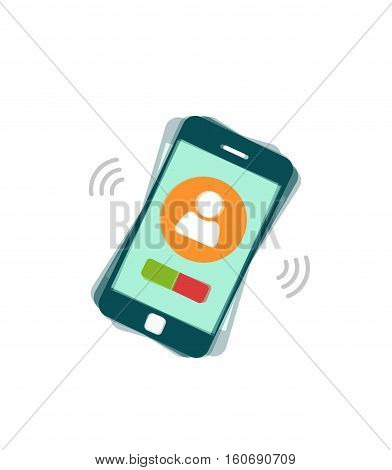Ringing mobile phone vector illustration isolated on white background, flat style calling or vibrating smartphone, cellphone
