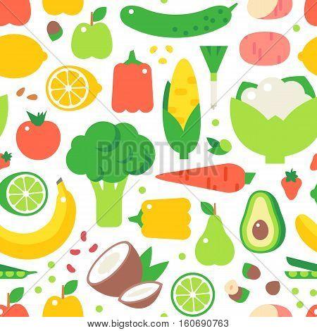 Vegetable seamless pattern garden background. Carrot bell pepper avocado olives pepper zucchini and broccoli tomato vegetarian harvest. Cartoon Natural vegan green raw food vector illustration.