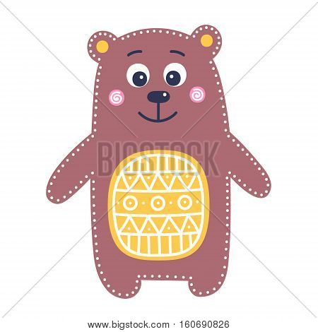Cute flat bear. Vector hand drawn bear with white ornament on tummy. Brown yellow pink colors. Isolated. On white background. Nice animal for kids design. Illustration in flat style.