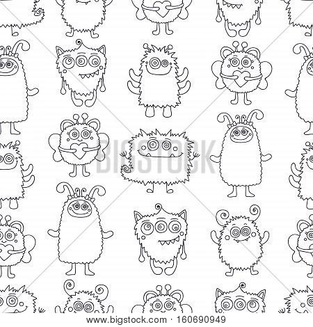 Fun monsters. Vector seamless pattern with nice hand drawn monsters. Black and white color background. Coloring page for anti stress coloring book.