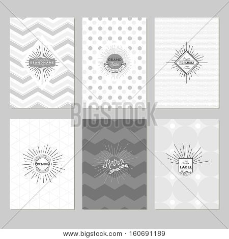 Sunburst posters set in grey tones with sunlight emblems on white and patterned backgrounds isolated vector illustration