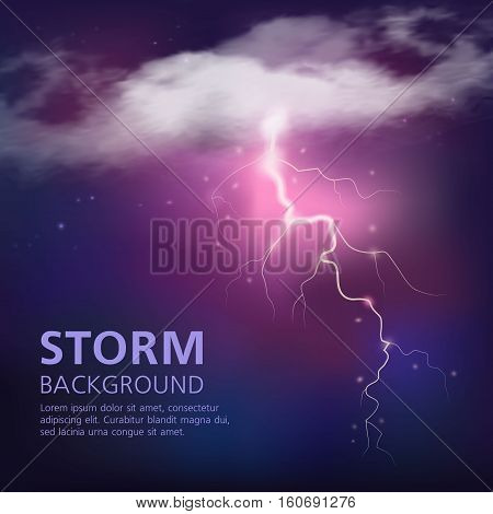 Electric discharge in sky background with lightning from half transparent clouds on purple blue color vector illustration
