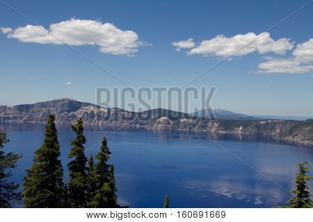 A horizontal view of the Crater Lake in Oregon, US. Shot at the Crater Lake National Park.