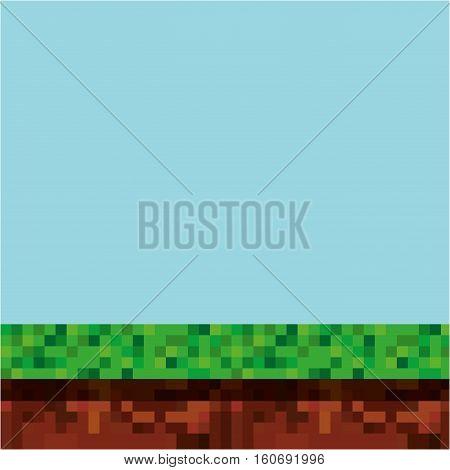 game scene pixelated background vector illustration design