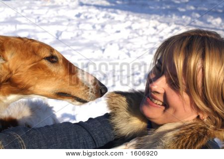 Woman With The Thoroughbred Borzoi Dog